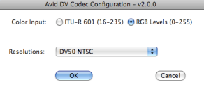 Avid DV Codec Options
